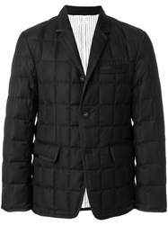 Thom Browne Downfilled Classic Single Breasted Sport Coat With Grosgrain Tipping In Black Super 130'S Wool Twill Feather Down Wool Goose.