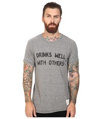 The Original Retro Brand Drinks Well With Other Short Sleeve Tri Blend Tee Streaky Grey Men's T Shirt Pewter