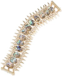 Abs By Allen Schwartz Gold Tone Spike Crystal And Colored Stone Flex Bracelet Multi