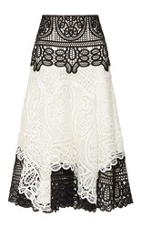 Costarellos Geometrical Guipure Lace Skirt White