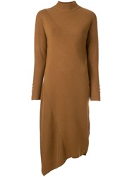 Loveless Ribbed Detail Asymmetric Dress Brown