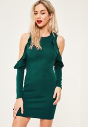 Missguided Green Frill Cold Shoulder Bodycon Dress