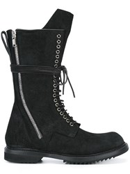 Rick Owens Lace Up Combat Boots Black