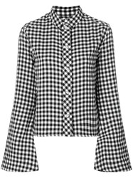 Filles A Papa Flared Sleeve Gingham Shirt Cotton Polyester Viscose Wool Ii Black
