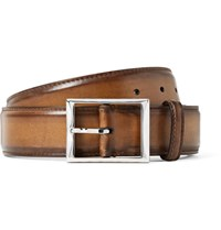 Berluti 3.5Cm Brown Classic Polished Leather Belt Brown