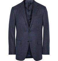 Ermenegildo Zegna Blue Slub Silk Cashmere And Linen Blend Blazer Midnight Blue