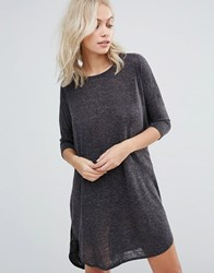Qed London Oversized T Shirt Dress Charcoal Grey