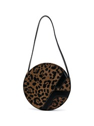 Manu Atelier Leopard Print Shoulder Bag Brown