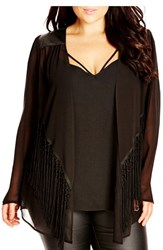 Plus Size Women's City Chic 'Pleather Fringe' Chiffon Jacket With Faux Leather And Fringe Trim