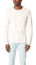Vince Raw Edge Solid Crew Thermal Tee Off White