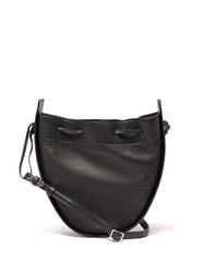 The Row Drawstring Grained Leather Cross Body Bag Black