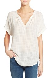 Women's Velvet By Graham And Spencer Windowpane Short Sleeve Top