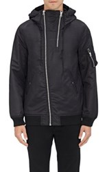 Nlst Men's Double Zip Nylon Flight Jacket Black