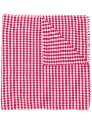 Bally Checked Cashmere Silk Scarf Red