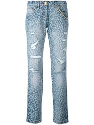 Philipp Plein Animal Print Jeans Women Cotton Polyester 30 Blue