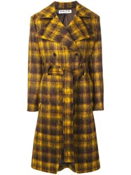 Aalto Checked Belted Coat Brown