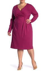 Lafayette 148 New York Pleated Long Sleeve Dress Plus Size Amaryllis