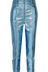 Hillier Bartley Glam Metallic Faux Textured Leather Straight Leg Pants Light Blue