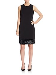 Calvin Klein Faux Fur Hem Ponte Shift Dress Black