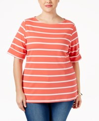 Karen Scott Plus Size Nina Striped Top Only At Macy's Coral Tile