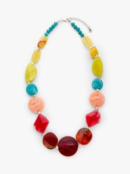 One Button Glass Bead Statement Necklace Multi