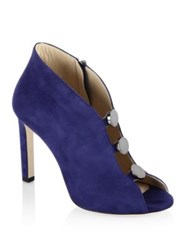 Jimmy Choo Lorna 100 Suede Peep Toe Booties Steel Blue Black Hazel
