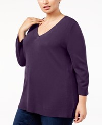 Karen Scott Plus Size Luxsoft V Neck Sweater Created For Macy's Purple Dynasty