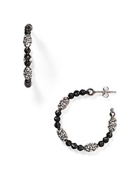 Officina Bernardi Hoop Earrings Black Silver