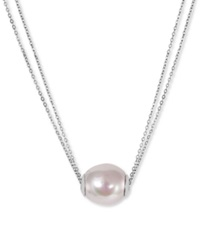 Majorica Sterling Silver Organic Man Made White Pearl Pendant Necklace 14Mm