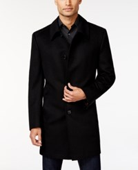 Kenneth Cole Reaction Estes Black Solid Slim Fit Overcoat