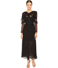Just Cavalli 3 4 Sleeve Sheer Embellished Gown Black Women's Dress