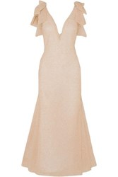 Rodarte Embellished Tulle Midi Dress Blush