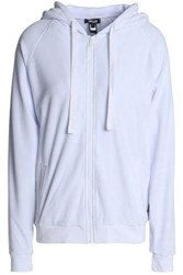 Just Cavalli Crystal Embellished Cotton Blend Chenille Hooded Sweatshirt White