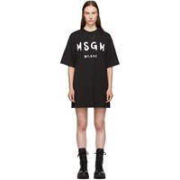 Msgm Black Paint Brushed Logo T Shirt Dress