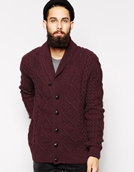 Barbour Cardigan With Cable Shawl Knit Red