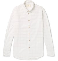 Folk Checked Cotton Shirt White