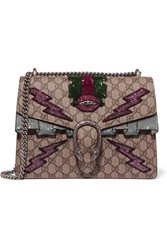 Gucci Dionysus Medium Appliqued Coated Canvas Shoulder Bag Beige