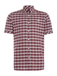 Fred Perry Men's Bold Gingham Short Sleeve Shirt Maroon