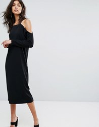 Selected Off Shoulder Dress Black