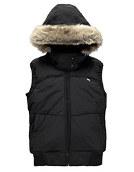 Bench Pushbroom B Gile Faux Fur Trimmed Vest Jet Black