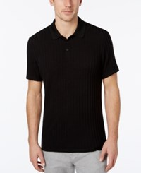 Alfani Men's Stretch Stripe Polo Classic Fit Deep Black