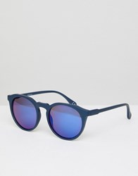 Asos Round Sunglasses In Matte Navy With Blue Mirror Lens