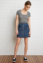 Forever 21 Button Down Denim Mini Skirt Medium Denim