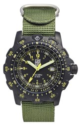 Men's Luminox 'Land Recon Point Man' Nylon Strap Watch 45Mm Green Black