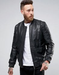 Asos Leather Bomber Jacket With Strap Detail In Black Black