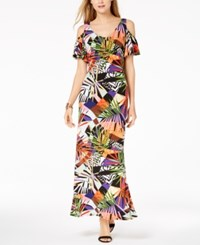 Msk Printed Cold Shoulder Maxi Dress Orange Multi