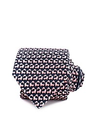 Thomas Pink Jumping Fox Print Classic Tie Navy Pink