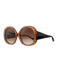 Courreges Plastic Oval Sunglasses Brown Black