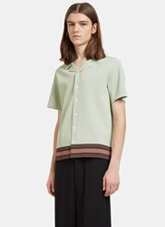 Valentino Striped Boxy Polo Shirt Green