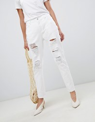 Vila Ripped Mom Jeans White